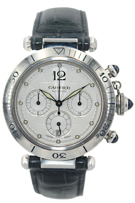 Cartier Pasha - 38mm - Stainless Steel - Chronograph - Silver Dial - Automatic - Ref. W31030H3