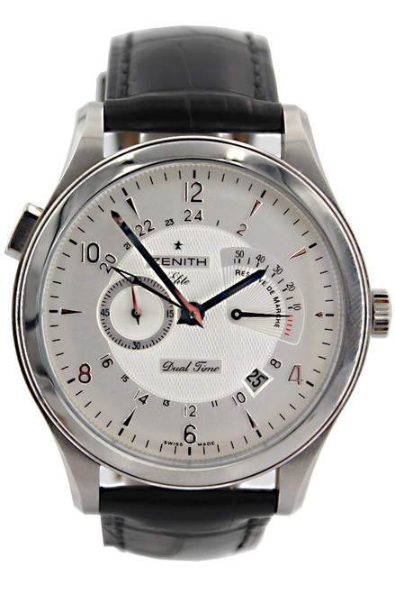 Zenith Elite Grande Class - 44mm -  Stainless Steel - Silver Dial - Power Reserve - Automatic - Black Leather Strap - Ref. 03.0520.683