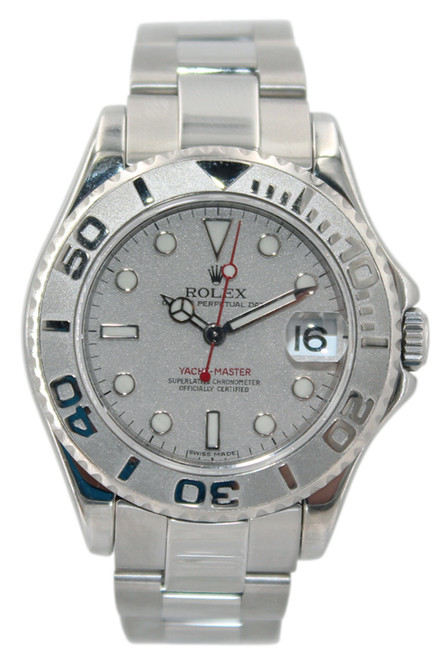 Rolex Oyster Perpetual Yacht-Master Mid-Size - 35mm - Stainless Steel - Platinum Dial - Platinum Bezel - Ref. 168622