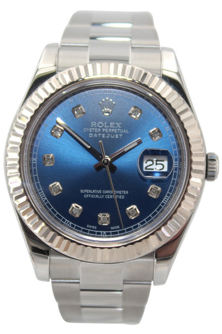 Rolex Oyster Perpetual Datejust II - 41mm - Stainless Steel - WG Fluted Bezel - Blue Diamond Dial - Ref. 116334