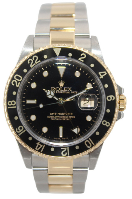 Rolex Oyster Perpetual Date GMT-Master II - 40mm - Two Tone- Black Dial - Black Bezel - Ref. 16713