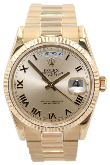 Rolex Oyster Perpetual Day-Date Presidential - 36mm - 18k YG - Champagne Roman Dial - Fluted Bezel - Ref. 118238