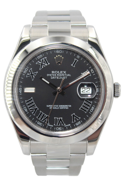 Rolex Oyster Perpetual Datejust II - 41mm - Stainless Steel - Smooth Bezel - Black Roman Dial - Ref. 116300