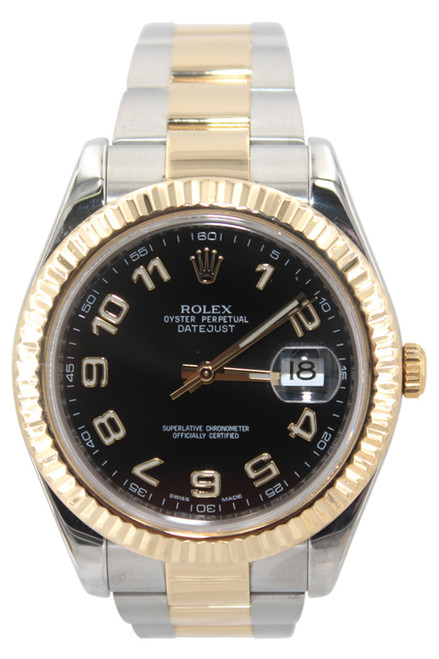 Rolex Oyster Perpetual Datejust II - 41mm - Two Tone - Black Arabic Dial - Fluted Bezel - Ref. 116333