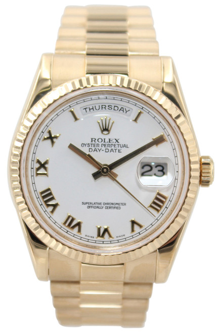 Rolex Oyster Perpetual Day-Date Presidential - 36mm - 18k YG - White Roman Dial - Ref. 118238