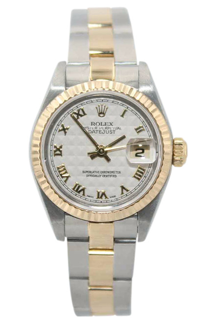 Rolex Oyster Perpetual Lady Datejust - 26mm - Two Tone - Ivory Pyramid Dial - Fluted Bezel - Oyster Bracelet - Ref. 79173