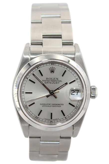 Rolex Oyster Perpetual Datejust - 31mm - Stainless Steel - Silver Stick Dial - Smooth Bezel - Oyster Bracelet - Ref. 68240