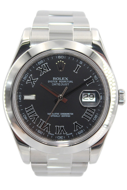 Rolex Oyster Perpetual Datejust II - 41mm - Stainless Steel - Black Roman Dial - Smooth bezel - Ref. 116300