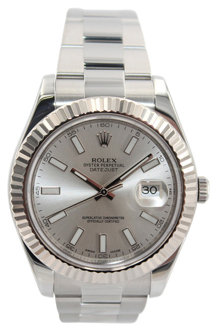 Rolex Oyster Perpetual Datejust II - 41mm - Stainless Steel - Silver Stick Dial - Fluted Bezel - Ref. 116334