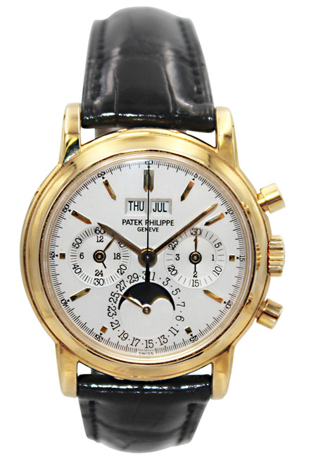 Patek Philippe - Grand Complication - 37mm - 18k YG - Moon Phase - Perpetual Calendar - Chronograph  - White Stick Dial - Manual Wind - Ref. 3970