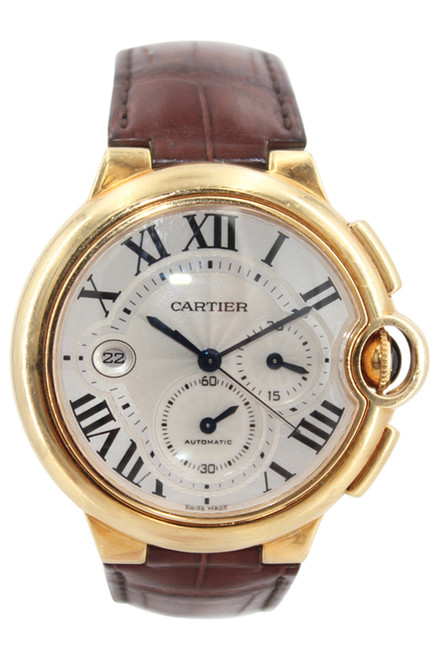 Cartier Ballon Bleu - 46mm - 18k YG -Silver Dial - Chronograph - Automatic - Brown Leather Strap - Ref. W6920007