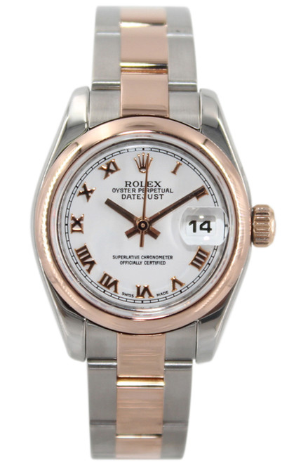 Rolex Oyster Perpetual Lady Datejust - 26mm - 18k RG/Stainless Steel - White Roman Dial - Smooth Bezel - Oyster Bracelet - Ref. 179171