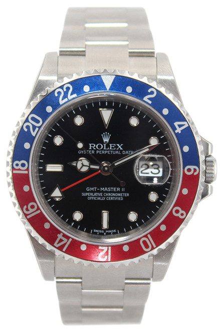 """Rolex GMT-Master II - Rare Black Dial -"""" Pepsi"""" Blue and Red Bezel - Ref. 16710"""
