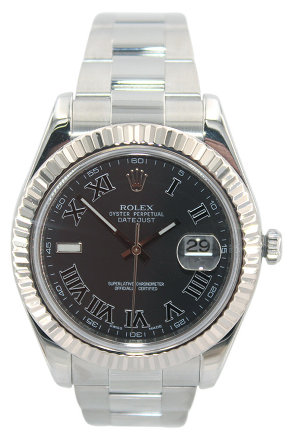 Rolex Oyster Perpetual Datejust II - 41mm - Stainless Steel - Black Roman Dial - Fluted Bezel - Ref. 116334