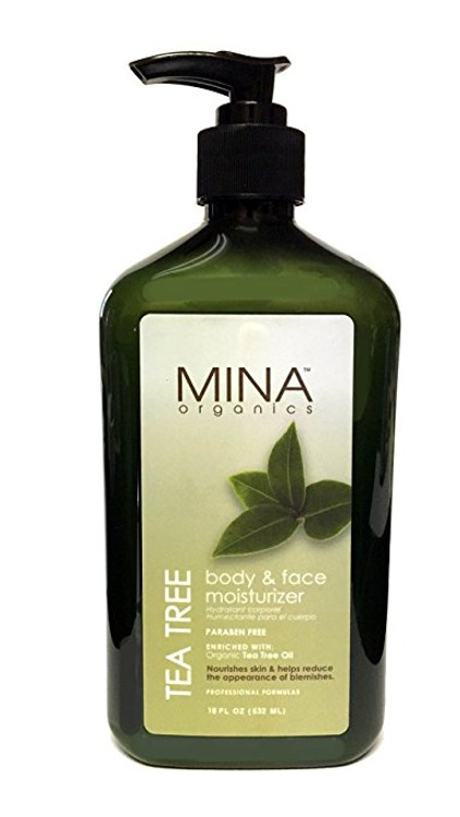 Mina Organics Tea Tree Body & Face Moisturizer, 18 oz
