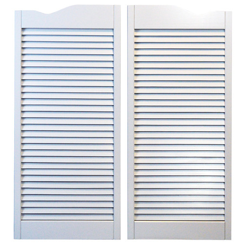 White Cafe Doors / Saloon Doors -Louvered Fits Any 24 inch Door Opening Hardware Included