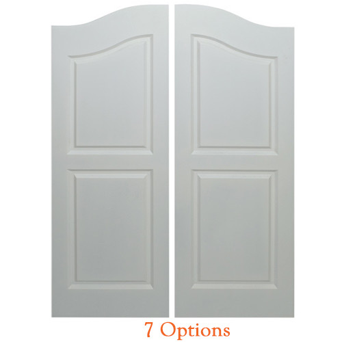 "Arched Top Farmhouse Saloon Doors | Cafe Doors Fits Any 30"" Door Opening / 2' 6"" Door Opening x 42"" Tall - Primed 