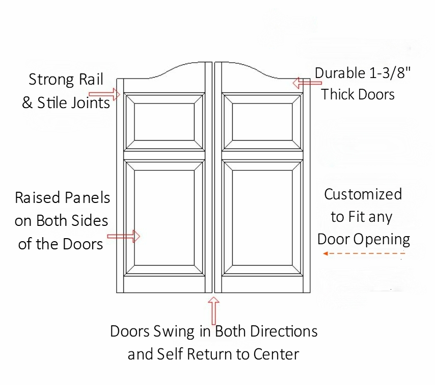 Arch Top  Raised Panel Saloon Door Specifications