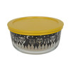 Pyrex 7201 4 Cup Black Owl Glass Bowl w/ 7201-PC Yellow Lid