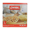 """Pyrex Bakeware Round Clear 9.5"""" x 1.5"""" Glass Pie Plates with Handles- 3 Pack"""
