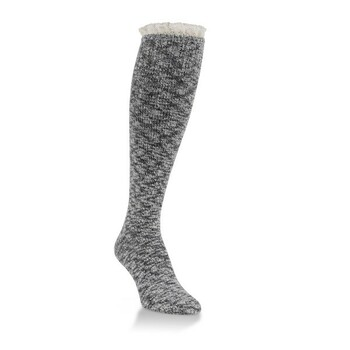Worlds Softest Knee High Grey/Black Socks with Cream Lace Ruffle