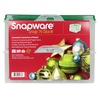 Snapware Snap 'N Stack 2-Layer Plastic Ornament Keeper with Handle