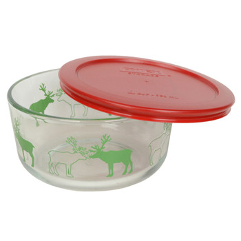 Pyrex 4 Cup Reindeer Glass Bowl w/ 7201-PC Red Lid
