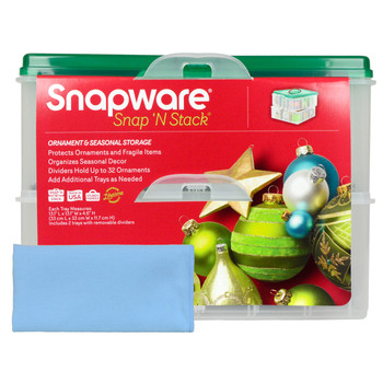Snapware 2-Layer Ornament Keeper w/ One Blue Microfiber Suede Polishing Cloth