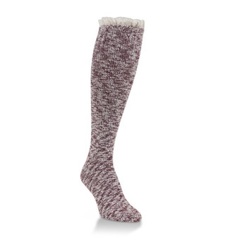 Worlds Softest Maroon Knee High Socks w/ Cream Lace Ruffle