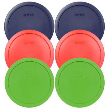 Pyrex 7402-PC 6 Cup (2) Red (2) Blue (2) Green Round Plastic Replacement Lids - 6 Pack