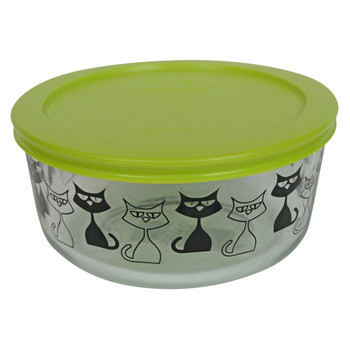 Pyrex 7201 4 Cup, 950ml Decorative Glass Bowl with 7201-PC Green Round Plastic Lid