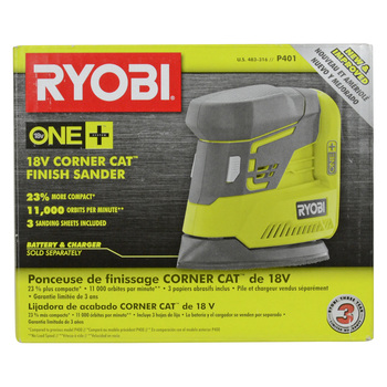 Ryobi P401 18V Corner Cat Finish Sander w/ Sandpaper Assortment