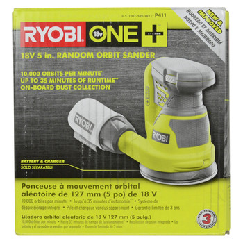 "Ryobi P411 18V 5"" Cordless Random Orbit Sander - Tool Only"