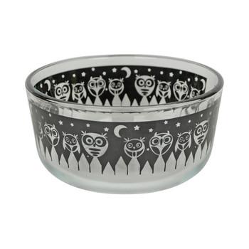 (2) Pyrex 7201 4 Cup Black Owl Glass Bowls w/ (2) 7201-PC Yellow Lids