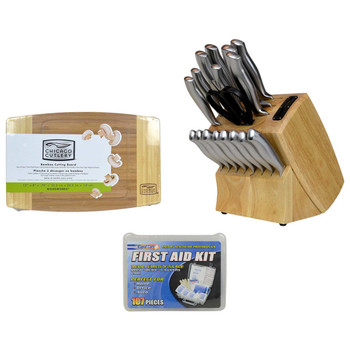 Chicago Cutlery 18pc Stainless Steel Knife Block Set with Bamboo Cutting Board and Rapid Care 107pc First Aid Kit