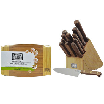 "Chicago Cutlery 14pc Walnut Tradition Knife Set w/ 12"" Bamboo Cutting Board"