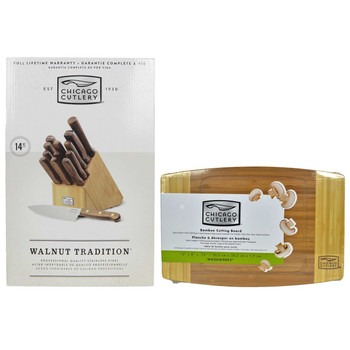 Chicago Cutlery Walnut Tradition 14-Piece Wood Block Knife Set