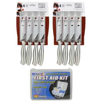 (2) Chicago Cutlery Insignia Steel 4-Piece Steak Knife Sets & (1) Rapid Care 107-Piece First Aid Kit