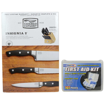 Chicago Cutlery 18-Piece Insignia2 Stainless Steel Knife Set & Rapid Care 107-Piece First Aid Kit