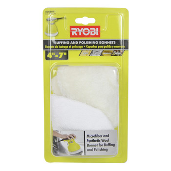 "Ryobi Tools A38BB11 4""-7"" Microfiber and Synthetic Wool Bonnets for Buffing and Polishing"