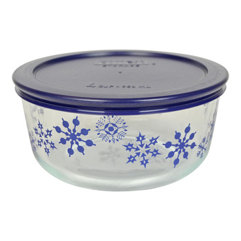 Pyrex Simply Store 4-Cup Blue & White Sowflake Glass Bowls w/ Plastic Lids - 2 Pack