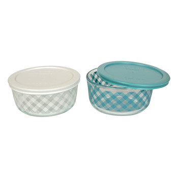 Pyrex 4 Cup Teal and White Decorative Glass Bowls with Plastic Lids - 2 Pack