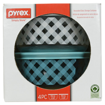 Pyrex Simply Store 4-Cup Teal & White Checkered Plaid Glass Bowls w/ Plastic Lids - 2 Pack