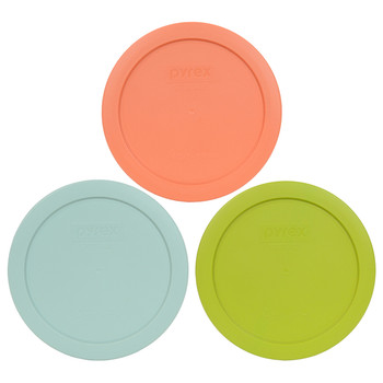Pyrex 7201-PC 4 Cup, 6 inch (1) Light Orange, (1) Light Green, and (1) Pale Aqua Replacement Lid