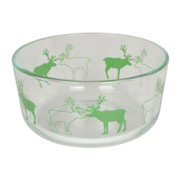 Pyrex Simply Store 7201 4 Cup Green Reindeer Glass Bowl