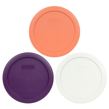 Pyrex 7201-PC Orange, White and Purple 4 Cup BPA Free Replacement Lids - 3 Pack