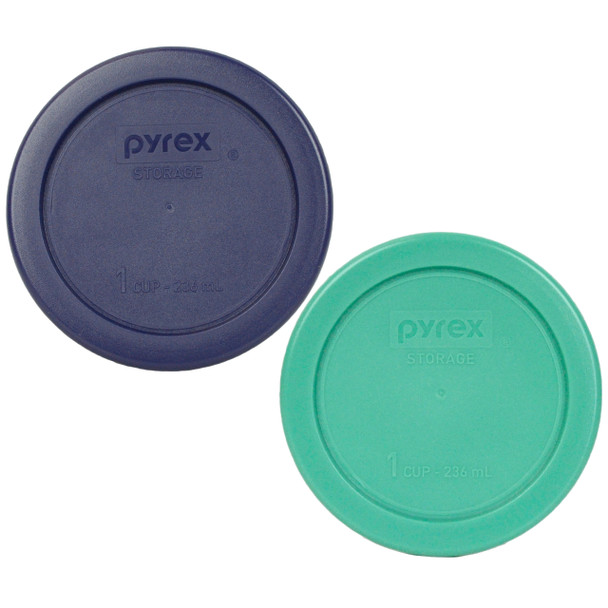 Pyrex 7202-PC (1) Green and (1) Blue 1 Cup, 236ml Round Plastic Replacement Lid