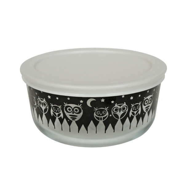Pyrex 7201 4 Cup Black Owl Glass Bowl w/ 7201-PC White Lid