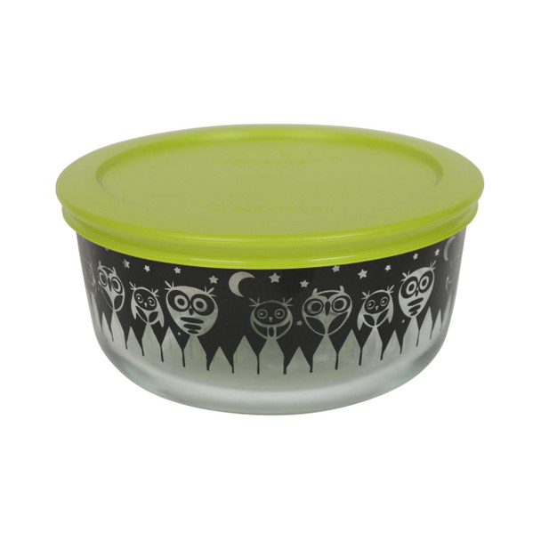 Pyrex 7201 4 Cup Black Owl Glass Bowl w/ 7201-PC Green Lid