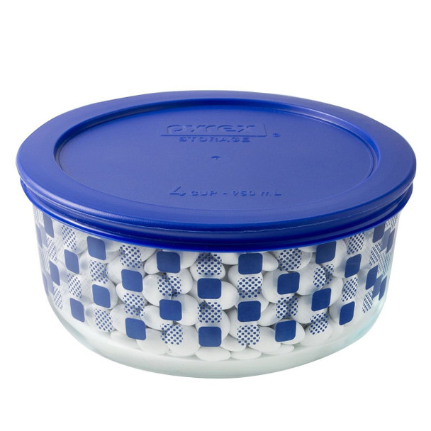 Pyrex 4 Cup Decorative Glass Storage Bowl with Plastic Lid Set